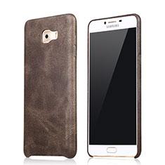 Custodia Lusso Pelle Cover L01 per Samsung Galaxy C9 Pro C9000 Marrone