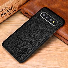 Custodia Lusso Pelle Cover P01 per Samsung Galaxy S10 Plus Nero