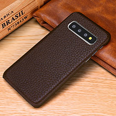 Custodia Lusso Pelle Cover P01 per Samsung Galaxy S10e Marrone