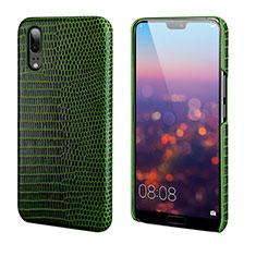 Custodia Lusso Pelle Cover P03 per Huawei P20 Verde