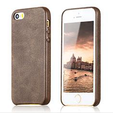 Custodia Lusso Pelle Cover per Apple iPhone SE Marrone