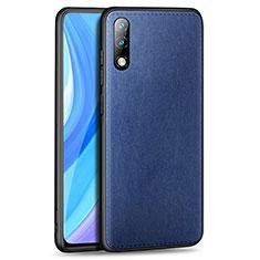 Custodia Lusso Pelle Cover per Huawei Enjoy 10 Blu