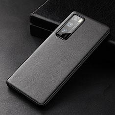 Custodia Lusso Pelle Cover per Huawei Enjoy 20 Pro 5G Nero