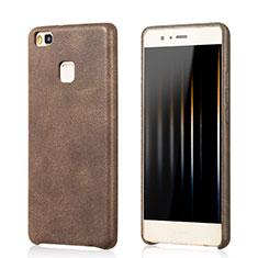Custodia Lusso Pelle Cover per Huawei G9 Lite Marrone