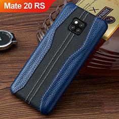 Custodia Lusso Pelle Cover per Huawei Mate 20 RS Blu e Nero