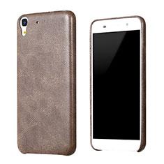 Custodia Lusso Pelle Cover per Huawei Y6 Marrone