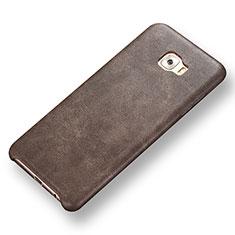 Custodia Lusso Pelle Cover per Samsung Galaxy C7 Pro C7010 Marrone