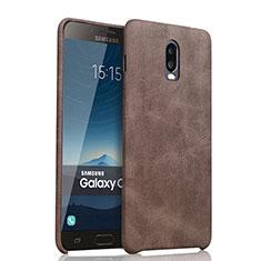 Custodia Lusso Pelle Cover per Samsung Galaxy C8 C710F Marrone