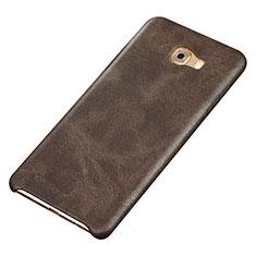 Custodia Lusso Pelle Cover per Samsung Galaxy C9 Pro C9000 Marrone