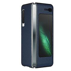 Custodia Lusso Pelle Cover per Samsung Galaxy Fold Blu