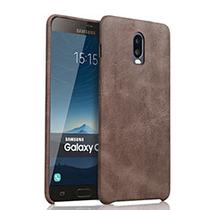 Custodia Lusso Pelle Cover per Samsung Galaxy J7 Plus Marrone