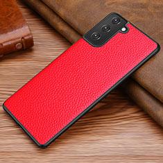 Custodia Lusso Pelle Cover per Samsung Galaxy S21 5G Rosso