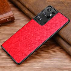 Custodia Lusso Pelle Cover per Samsung Galaxy S21 Ultra 5G Rosso