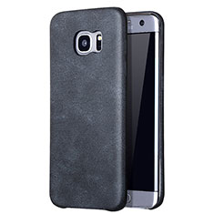 Custodia Lusso Pelle Cover per Samsung Galaxy S7 Edge G935F Nero