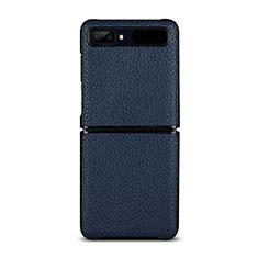 Custodia Lusso Pelle Cover per Samsung Galaxy Z Flip Blu