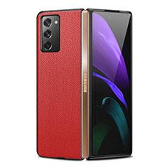 Custodia Lusso Pelle Cover per Samsung Galaxy Z Fold2 5G Rosso