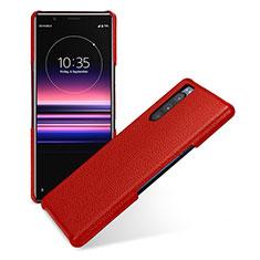 Custodia Lusso Pelle Cover per Sony Xperia 5 Rosso