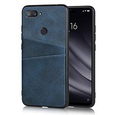 Custodia Lusso Pelle Cover per Xiaomi Mi 8 Lite Blu