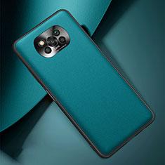 Custodia Lusso Pelle Cover per Xiaomi Poco X3 NFC Ciano