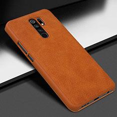 Custodia Lusso Pelle Cover per Xiaomi Redmi 9 Prime India Arancione