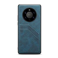 Custodia Lusso Pelle Cover R01 per Huawei Mate 40 Pro+ Plus Blu