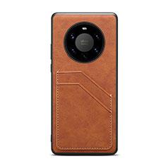Custodia Lusso Pelle Cover R01 per Huawei Mate 40 Pro+ Plus Marrone