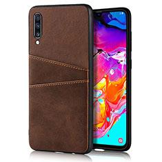 Custodia Lusso Pelle Cover R01 per Samsung Galaxy A90 5G Marrone
