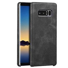 Custodia Lusso Pelle Cover R01 per Samsung Galaxy Note 8 Duos N950F Nero
