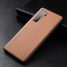Custodia Lusso Pelle Cover R02 per Huawei Nova 7 SE 5G Marrone