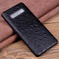 Custodia Lusso Pelle Cover R04 per Samsung Galaxy S10 Plus Nero
