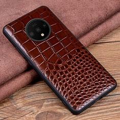 Custodia Lusso Pelle Cover R05 per OnePlus 7T Marrone