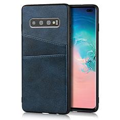 Custodia Lusso Pelle Cover R06 per Samsung Galaxy S10 Plus Blu