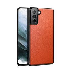 Custodia Lusso Pelle Cover S01 per Samsung Galaxy S21 5G Arancione