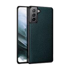 Custodia Lusso Pelle Cover S01 per Samsung Galaxy S21 5G Verde Notte
