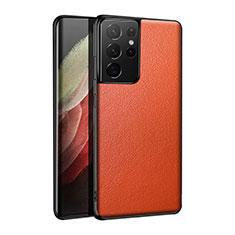 Custodia Lusso Pelle Cover S01 per Samsung Galaxy S21 Ultra 5G Arancione