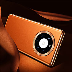 Custodia Lusso Pelle Cover S08 per Huawei Mate 40 Pro+ Plus Arancione