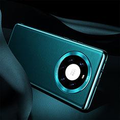 Custodia Lusso Pelle Cover S08 per Huawei Mate 40 Pro+ Plus Ciano