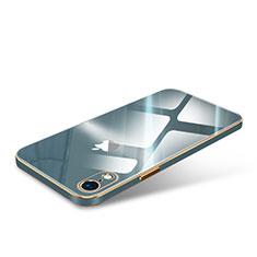 Custodia Lusso Silicone Trasparente Specchio Laterale Cover per Apple iPhone XR Verde Notte