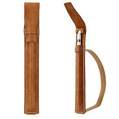 Custodia Pelle Elastico Cover Manicotto Staccabile P02 per Apple Pencil Apple iPad Pro 12.9 Marrone