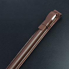 Custodia Pelle Elastico Cover Manicotto Staccabile P04 per Apple Pencil Apple iPad Pro 12.9 Marrone