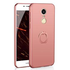 Custodia Plastica Rigida Cover Opaca con Anello Supporto A01 per Huawei Enjoy 6 Oro Rosa