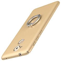 Custodia Plastica Rigida Cover Opaca con Anello Supporto A01 per Huawei Enjoy 6S Oro