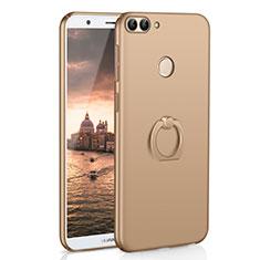 Custodia Plastica Rigida Cover Opaca con Anello Supporto A01 per Huawei Enjoy 7S Oro