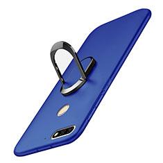 Custodia Plastica Rigida Cover Opaca con Anello Supporto A01 per Huawei Enjoy 8 Blu