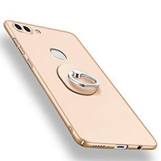 Custodia Plastica Rigida Cover Opaca con Anello Supporto A01 per Huawei Enjoy 8 Plus Oro
