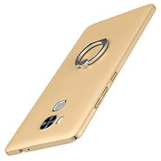 Custodia Plastica Rigida Cover Opaca con Anello Supporto A01 per Huawei G9 Plus Oro