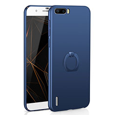 Custodia Plastica Rigida Cover Opaca con Anello Supporto A01 per Huawei Honor 6 Plus Blu