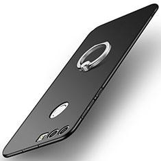 Custodia Plastica Rigida Cover Opaca con Anello Supporto A01 per Huawei Honor 8 Nero