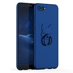 Custodia Plastica Rigida Cover Opaca con Anello Supporto A01 per Huawei Honor V10 Blu