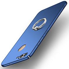 Custodia Plastica Rigida Cover Opaca con Anello Supporto A01 per Huawei Nova 2 Blu